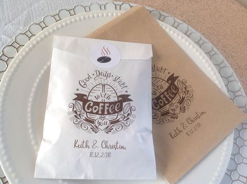 Coffee Favor Bags Wedding Treat Bags-Logie Paperie Shop
