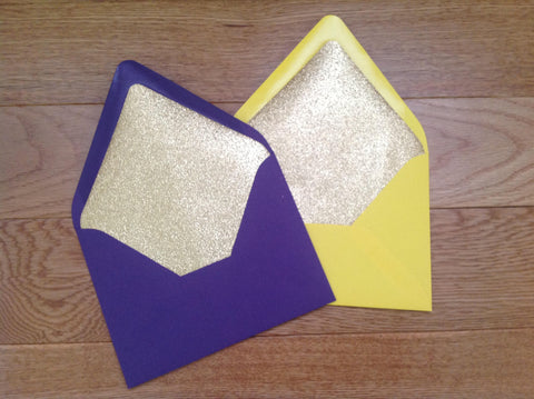 Gold Glitter Lined A7 Invitation Envelopes, Euro Flap-Logie Paperie Shop