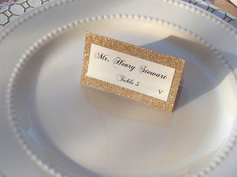 Gold Glitter Wedding Place Cards, Escort Cards-Logie Paperie Shop