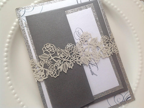 Silver Laser Cut Invitation Belly Band-Logie Paperie Shop