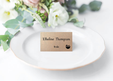 Wood Wedding Place Cards with Food Choice