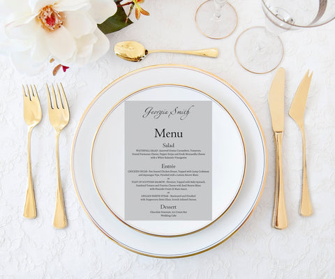 Place Card with Menu, Guest Name Menu Cards, Place Setting Cards