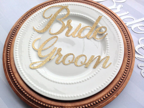 Gold Bride and Groom Place Setting Names | Set of 2