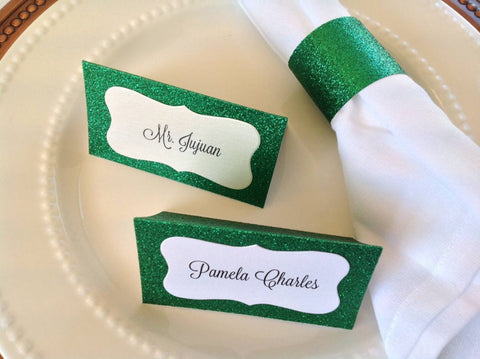 christmas place cards and napkin ring