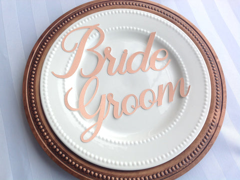 Rose Blush Gold Bride and Groom Place Setting