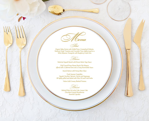 Round Wedding Menu Cards | Gold Menus