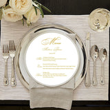 Round Menus for Weddings