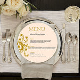 Round Wedding Menu for Charger Plates