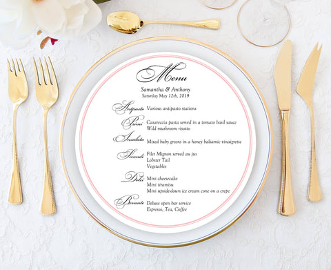 round menu cards for Charger Plates