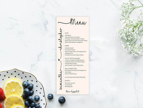 Wedding Menu Template, Printable Menu Cards, Editable PDF, Modern Wedding Menu, Downloadable Menu