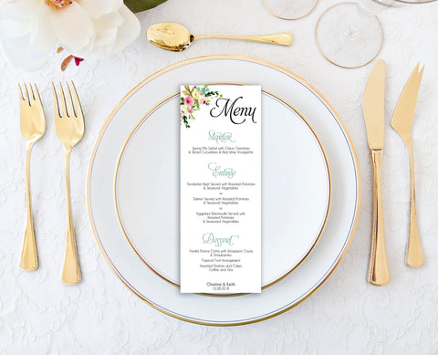 Wedding Menu Template, Menu Card Template, Floral Wedding Menu, Modern Wedding Menu, Printable Menu Cards, Reception Menu