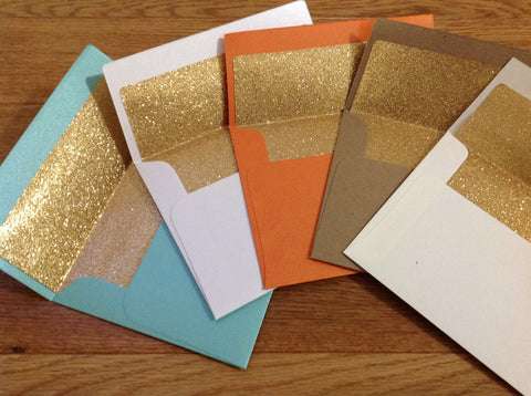 Gold Glitter Lined Invitation Size A7 Envelopes, Square Flap-Logie Paperie Shop