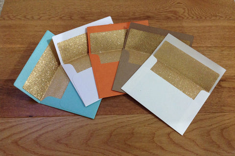 Gold Glitter Lined A6 Invitation Envelopes-Logie Paperie Shop
