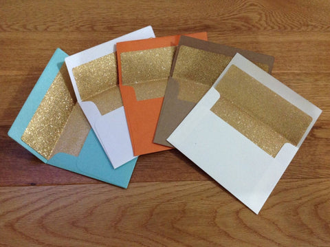 Gold Glitter Lined Size A2 Envelopes-Logie Paperie Shop