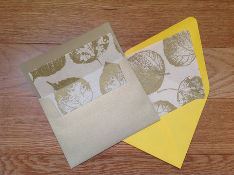 Gold Leaf Envelope Liners, Euro or Square Flap Envelopes A2 Size-Logie Paperie Shop