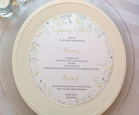 Round floral wreath wedding menu