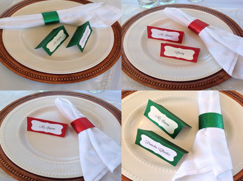 Christmas Place Cards and Napkin Ring Set