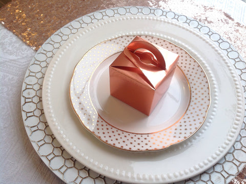 Rose Gold Square Favour Box-Logie Paperie Shop