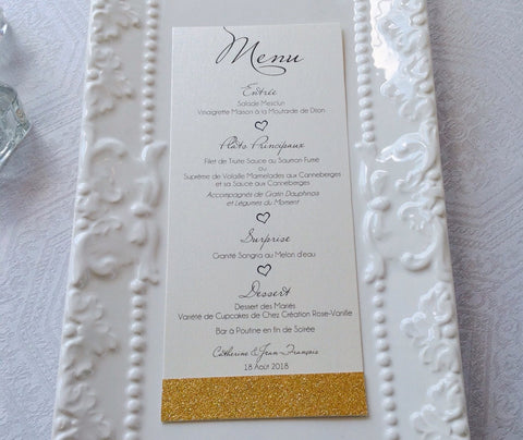 Wedding menu Cards with glitter border-Logie Paperie Shop