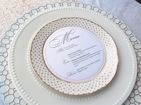 Circle Plate Reception Menu Cards-Logie Paperie Shop