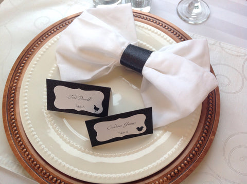 Black Glitter Place Card and Napkin Ring Set