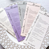 Wedding Menu Cards-Logie Paperie Shop