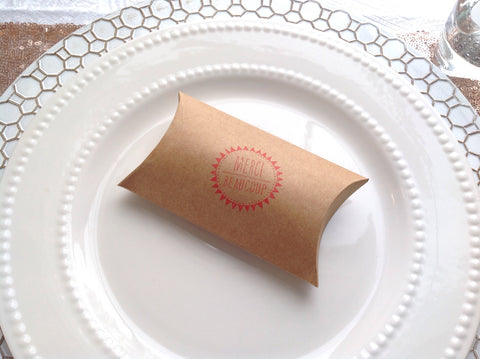 Wedding Favour Pillow Box Merci Beaucoup | Thank You Favor Box.-Logie Paperie Shop
