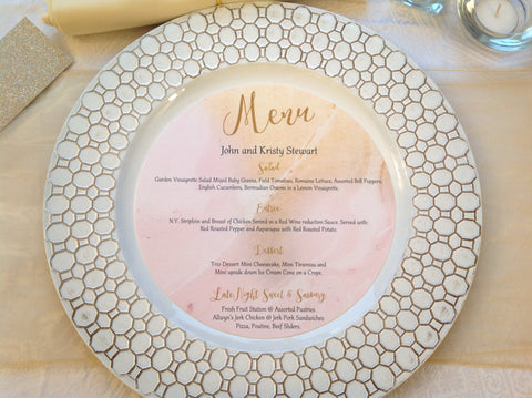 Blush & Gold Marble Charger Menu Cards, Circle Menu Cards-Logie Paperie Shop
