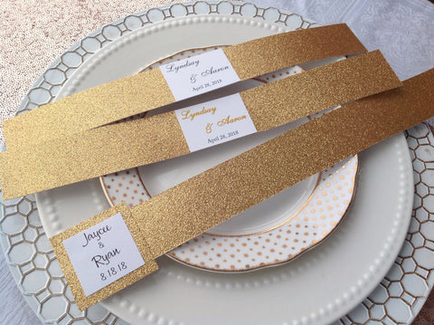 Gold Glitter Invitation Belly Band with Monogram-Logie Paperie Shop