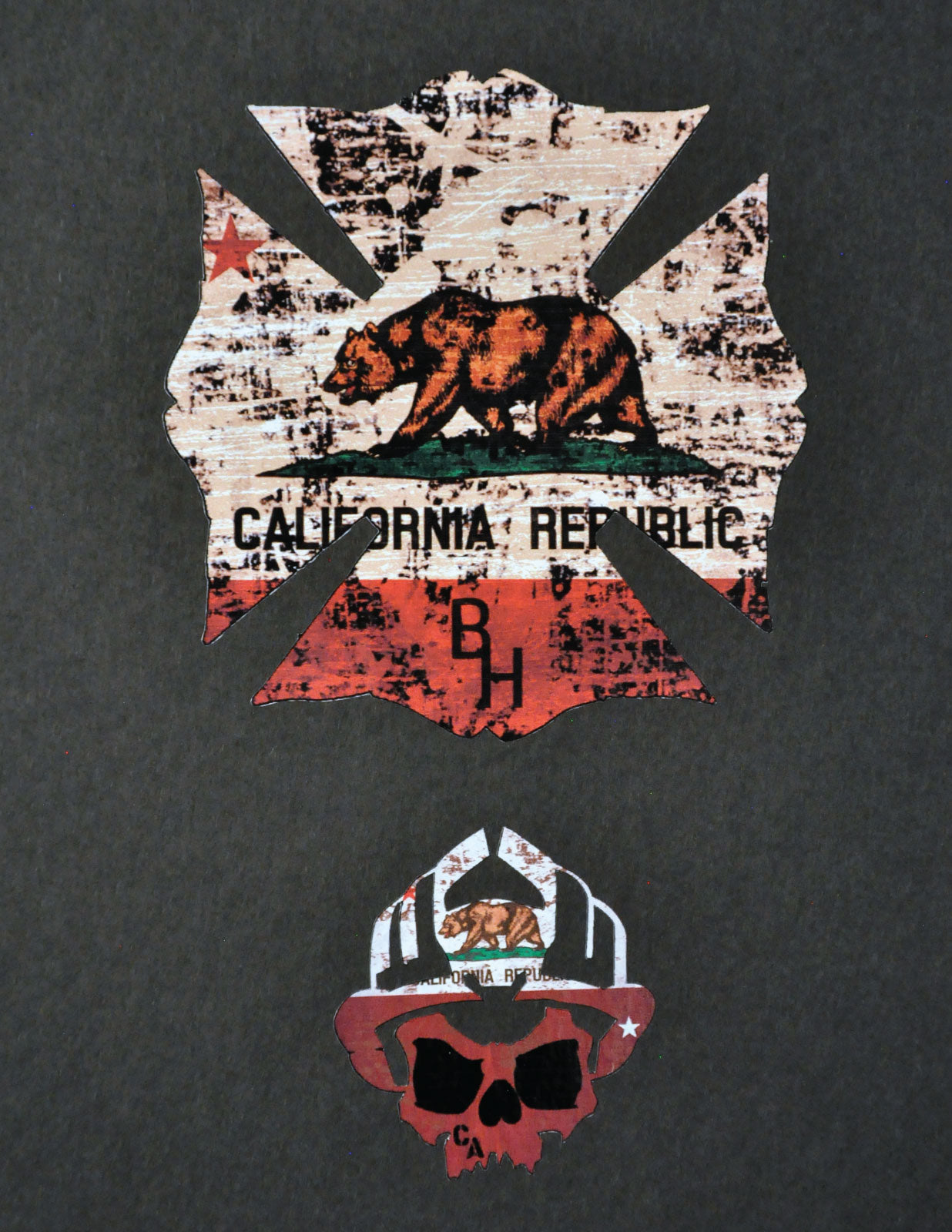 California Republic Maltese and Skull logo Decal Pack