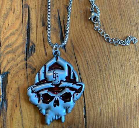 Limited Edition Black Helmet Skull Logo Fight Fire Translucent Red Pendant