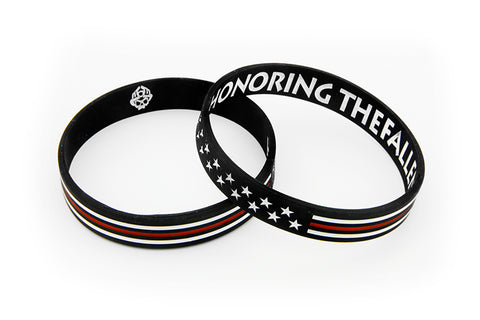 Honoring the Fallen Thin Red Line USA Two Sided Silicone Wristbands Skull Logo Reverse Side