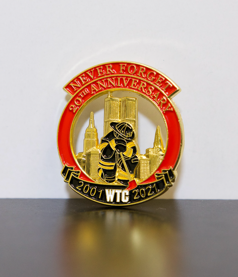 Limited Edition 20th Anniversary Never Forget Twin Towers Kneeling Firefighter Pin