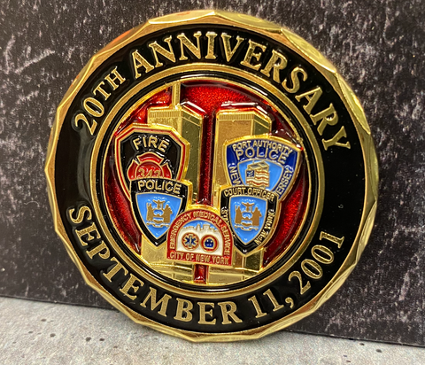 "Multiple Agency Limited Edition 20th Anniversary World Trade Center 2001-2021 Never Forget ""Commemorative Challenge Coin"