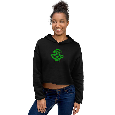Black Helmet Irish Skull Women's Bella Canvas Crop Hoodie