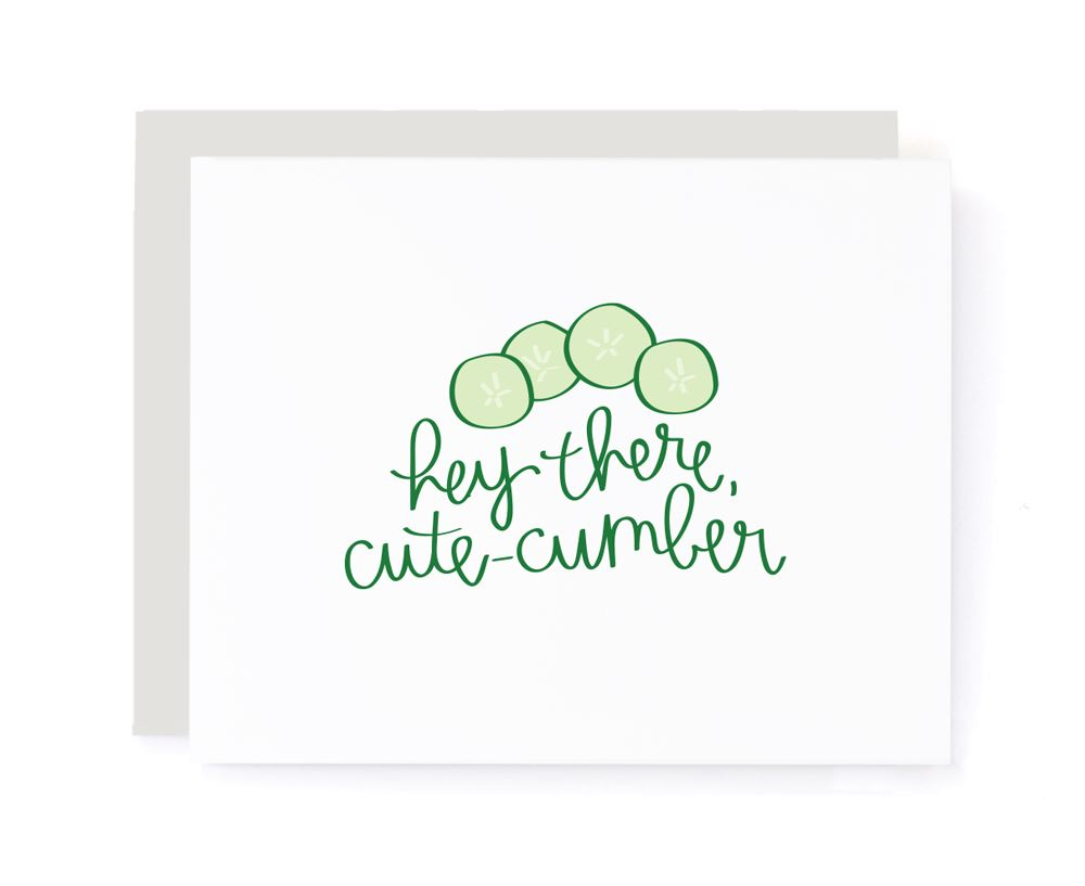 Hey There Cutecumber Valentines Card