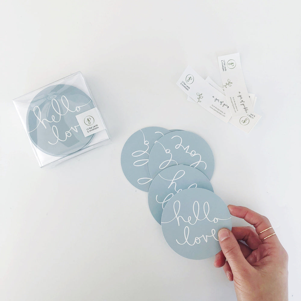 Hello Love Mini Circle Flat Card Set of 10