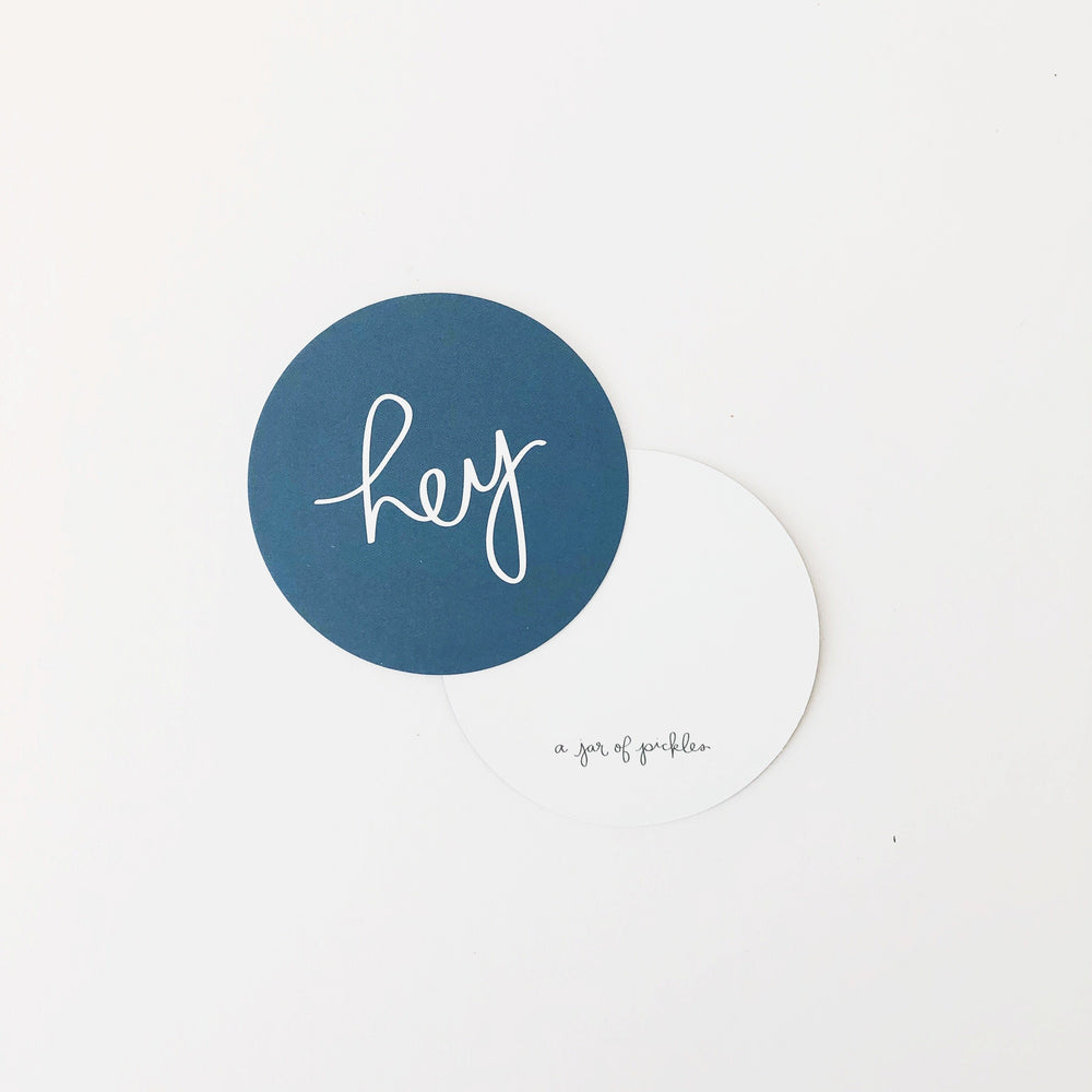 Hey Mini Circle Flat Card Set of 10