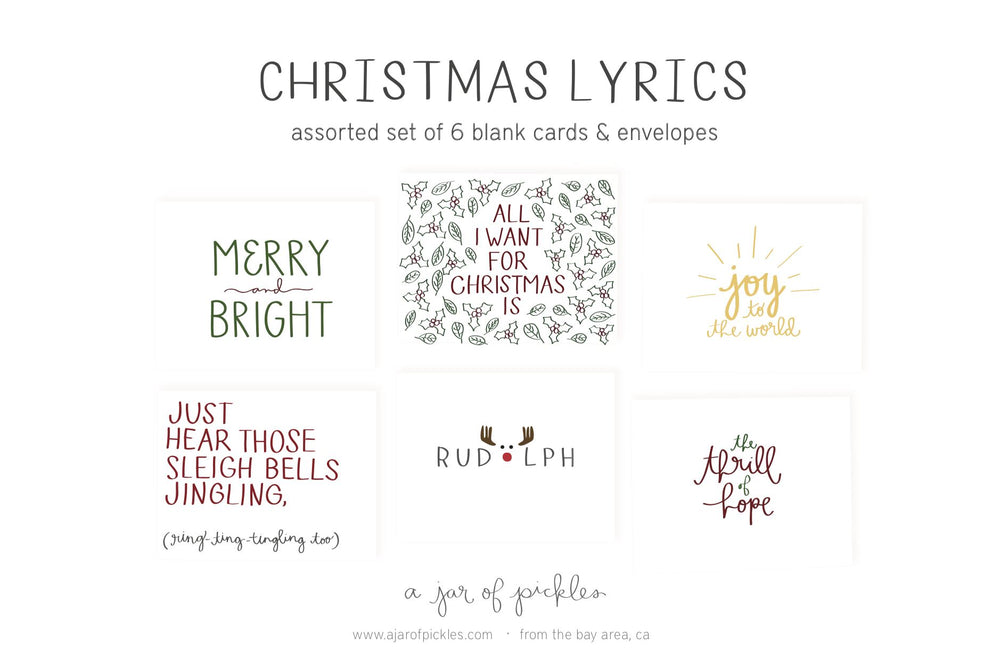 Holiday Song Lyrics Assorted Card Set