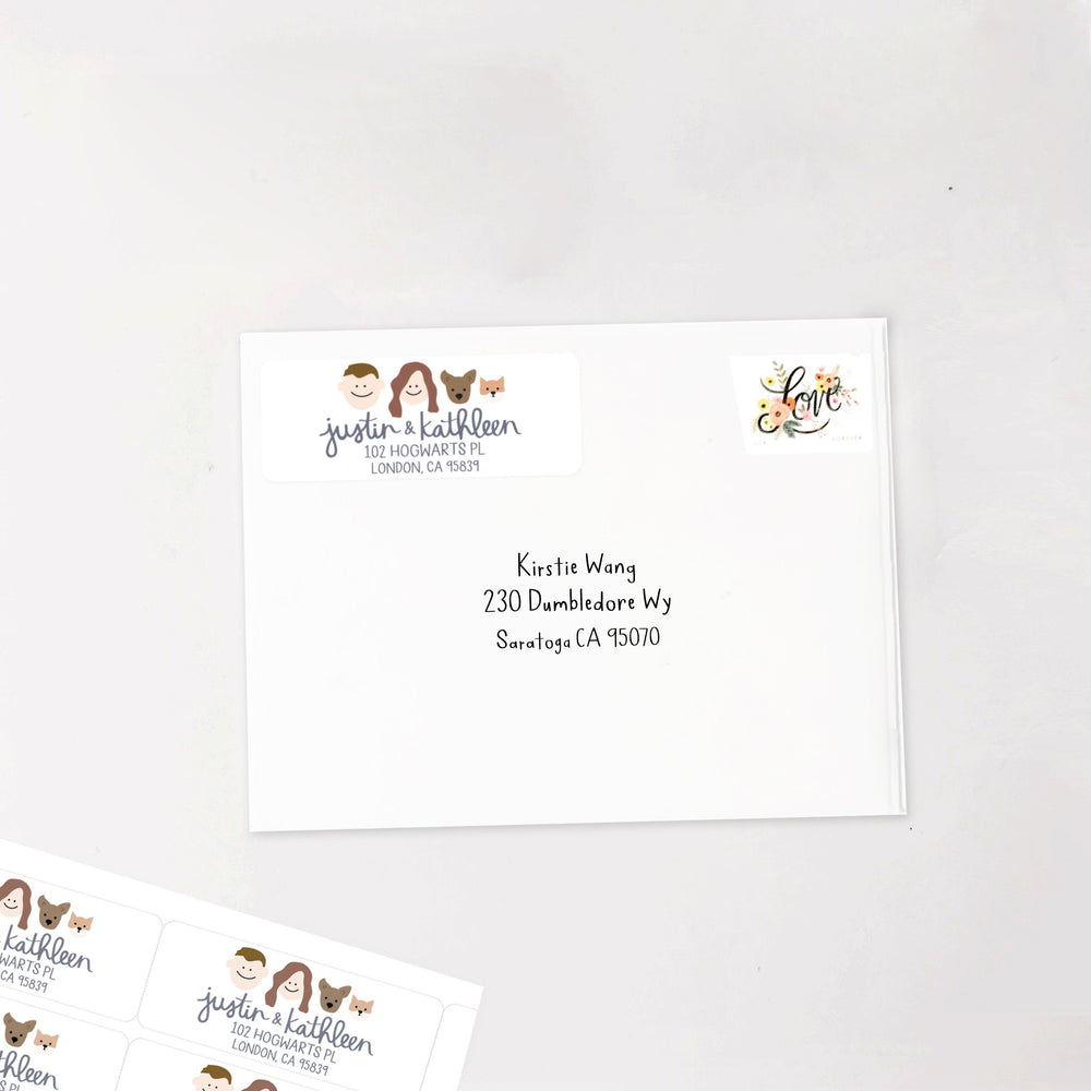 Custom Stickers: Family Portrait Address (120 count)