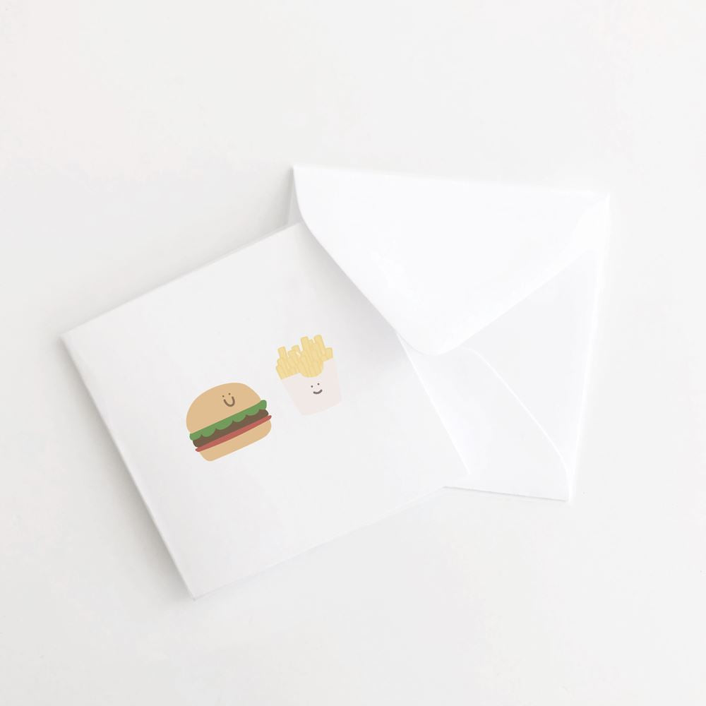 Burger and Fries Mini Card Set of 10 flat card A Jar of Pickles