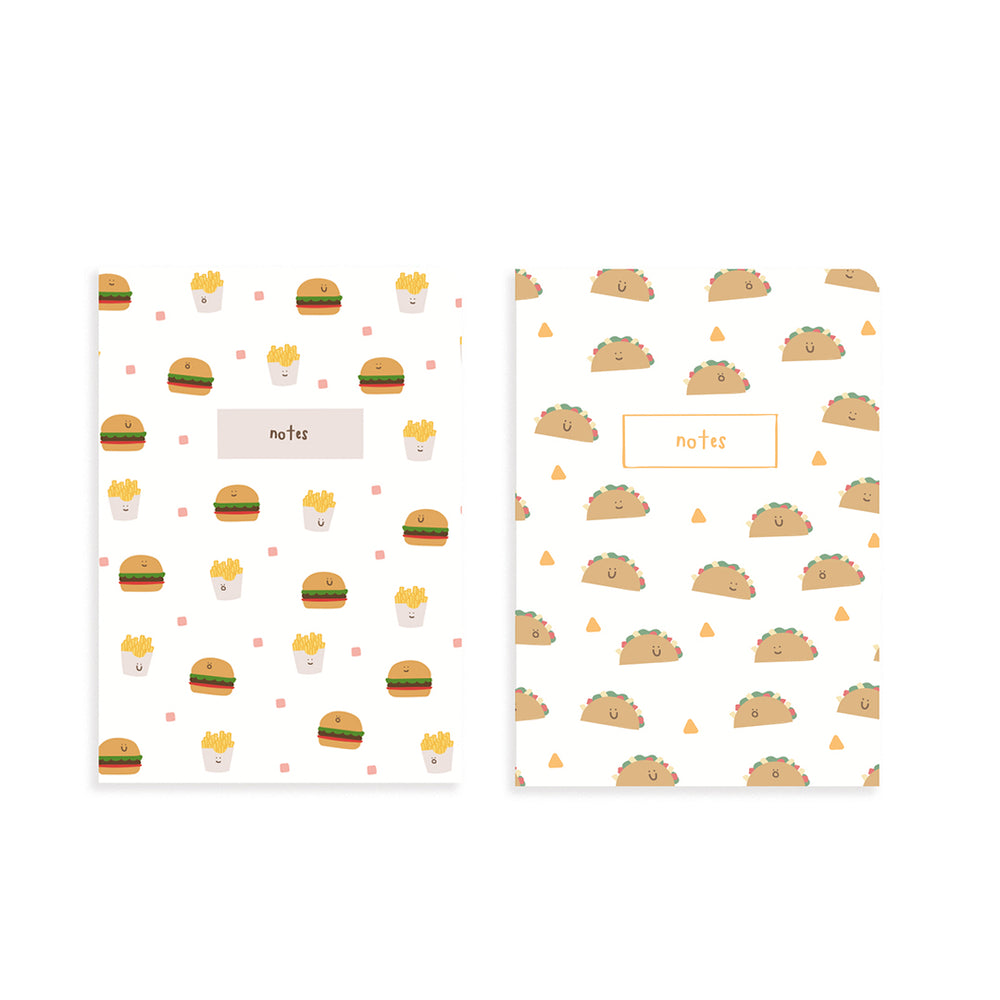 Burger Taco Pocket Notebook Set of 2