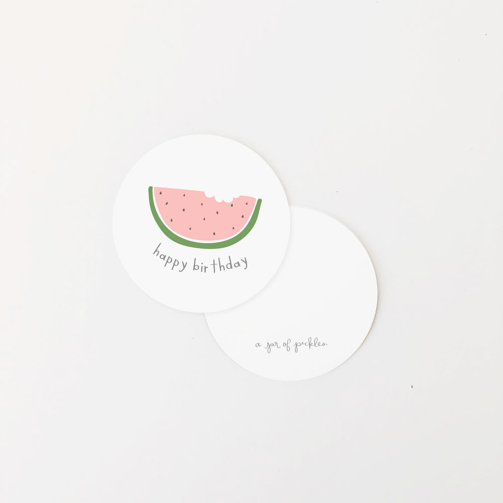 Happy Birthday Watermelon Mini Circle Flat Card Set of 10 flat card A Jar of Pickles