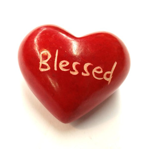 Blessed Soapstone Word Heart - Kenya