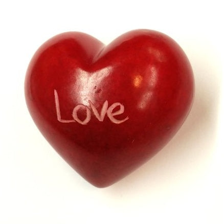 Love Soapstone Word Heart - Kenya