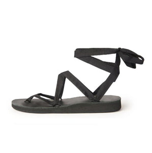 Size 5 Black Base Sseko Ribbon Sandals - Uganda