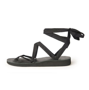 Size 12 Black Base Sseko Ribbon Sandals - Uganda