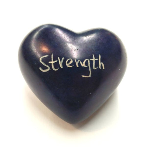Blue Strength Soapstone Word Heart - Kenya
