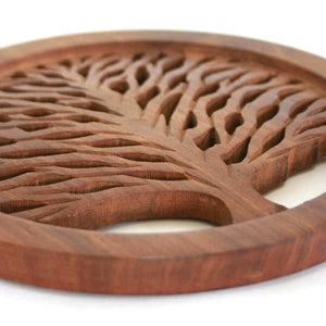 Tree of Life Carved Wood Trivet - India