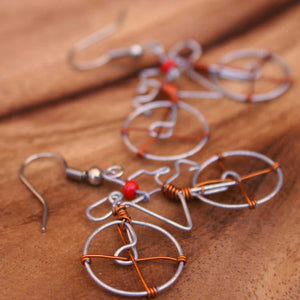 Wire Bicycle Earrings - Kenya